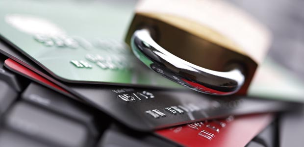 A keylock on top of credit cards