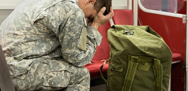 A military man taking emergency leave