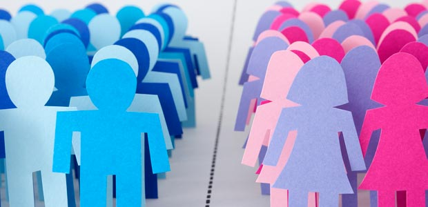 A group of male and female cutouts segregated into discrete groups