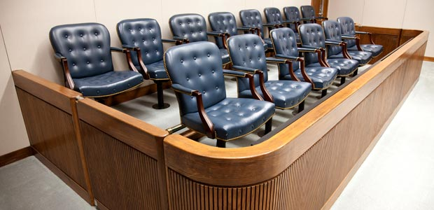 Jury seating area in a courtroom