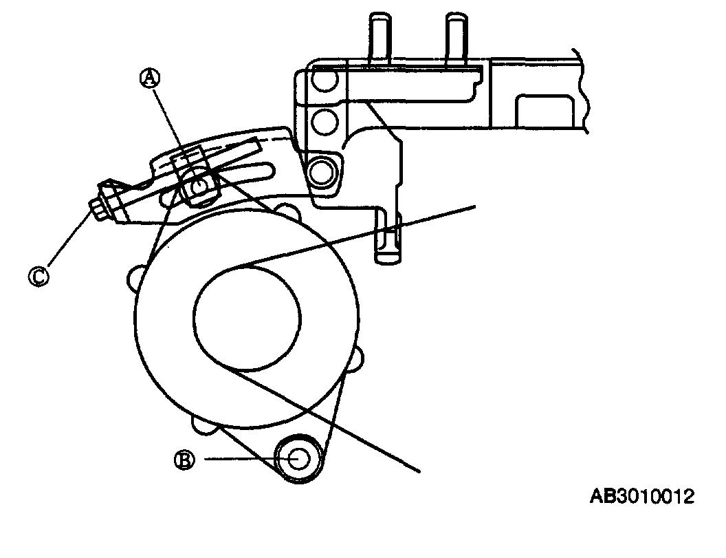 For The Alternator Belt Loosen Bolts A And B Then Adjust With Bolt C When You Turn It In Each Direction Will En