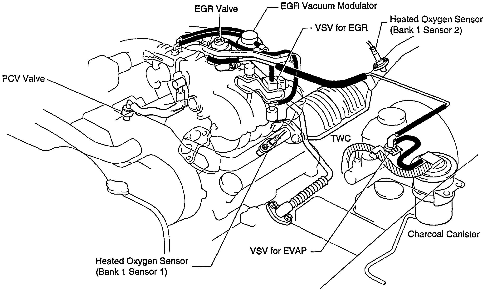 Where Does The Canister Bottom Hose Connects To Engine On 1996 T