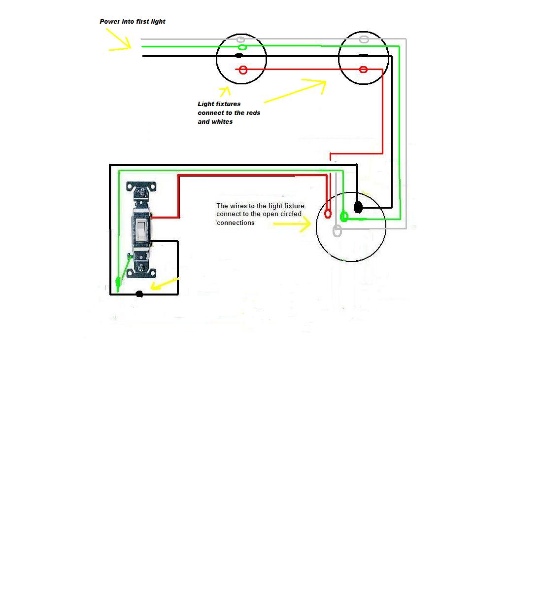 I Am Wiring A Series Of Lights The Power Source Feeds Through All One Switch Diagram Multiple Light Fixtures Full Size Image