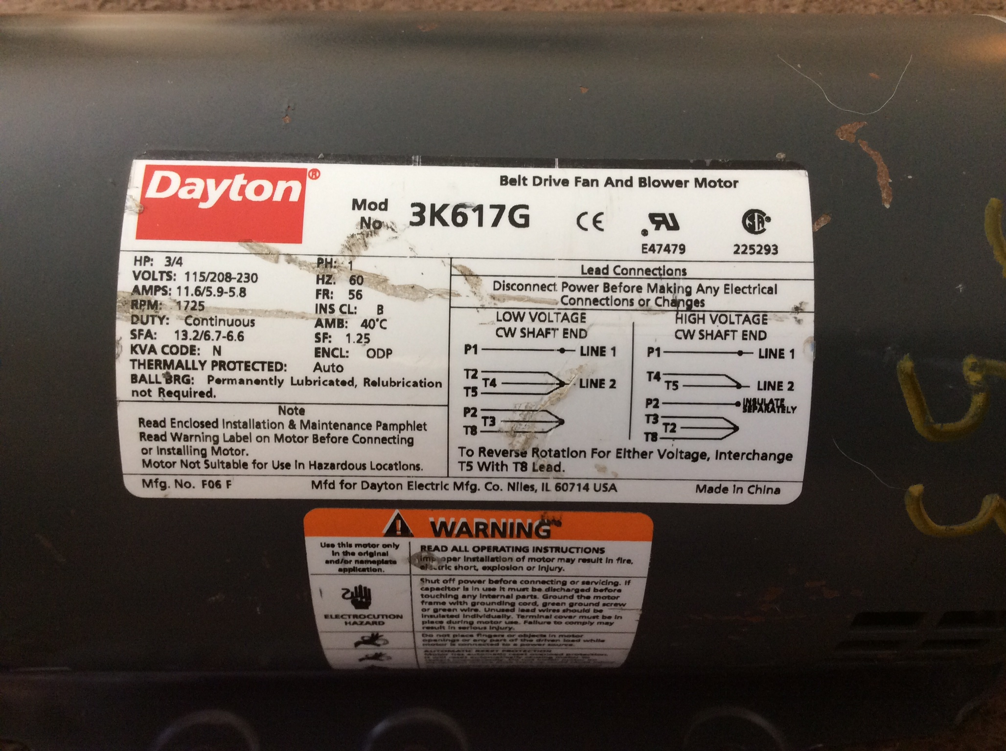 Dayton Electric Motor  Model  5k960
