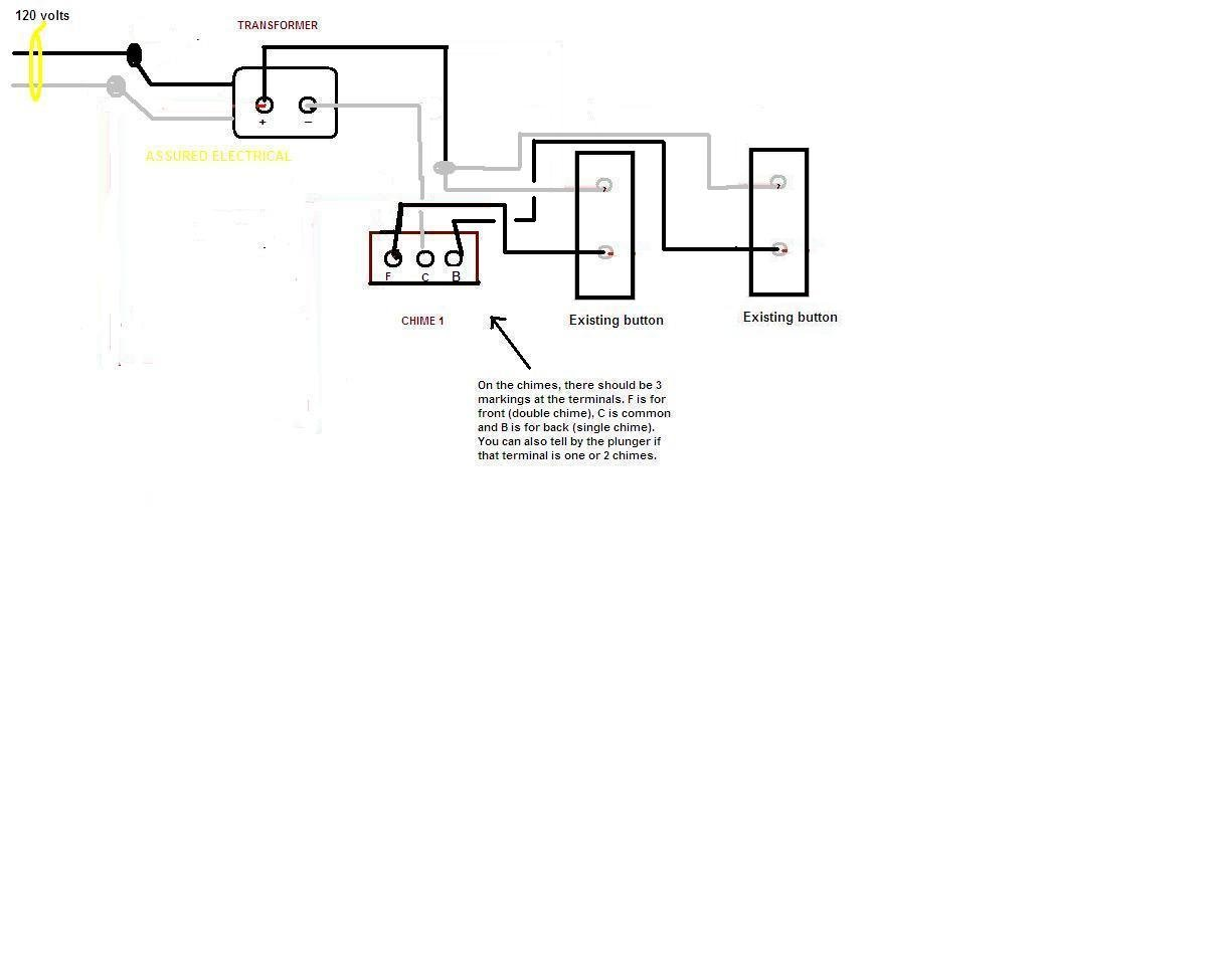 Wiring A Doorbell With Two Chimes Trusted Diagram Doorbells In Triplexbasementwirejpg Rittenhouse 410 Diy Enthusiasts Schematic Use Some Help Connecting