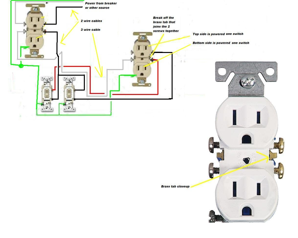 I Want To Wire An Outlet Where Each Plug Is Controlled By Separate Wiring Cable Graphic