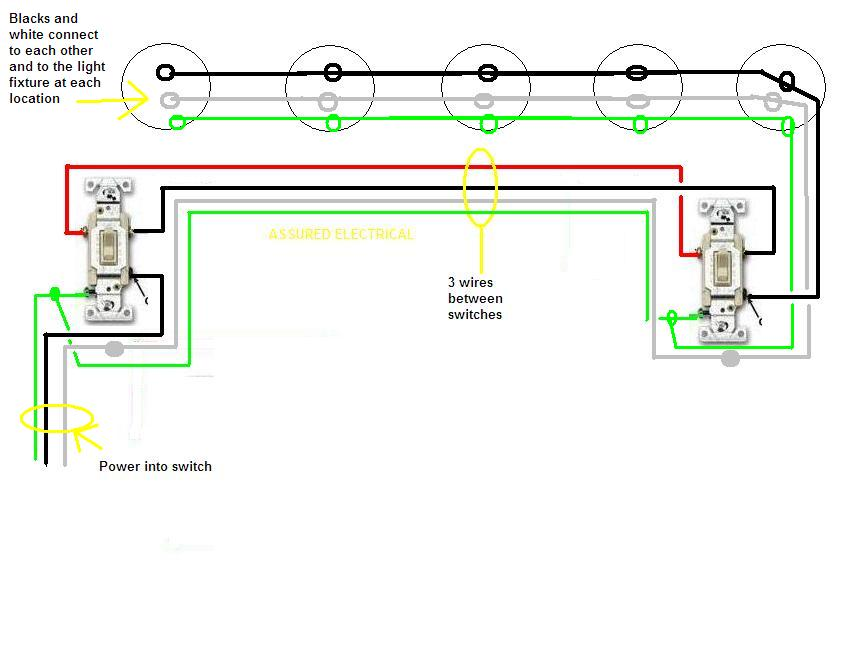 Three way switches with five lights these are for flourescents in on wiring diagram for 3 lights one switch 3 -Way Electrical Connection Diagram Light Switch 3 Wires