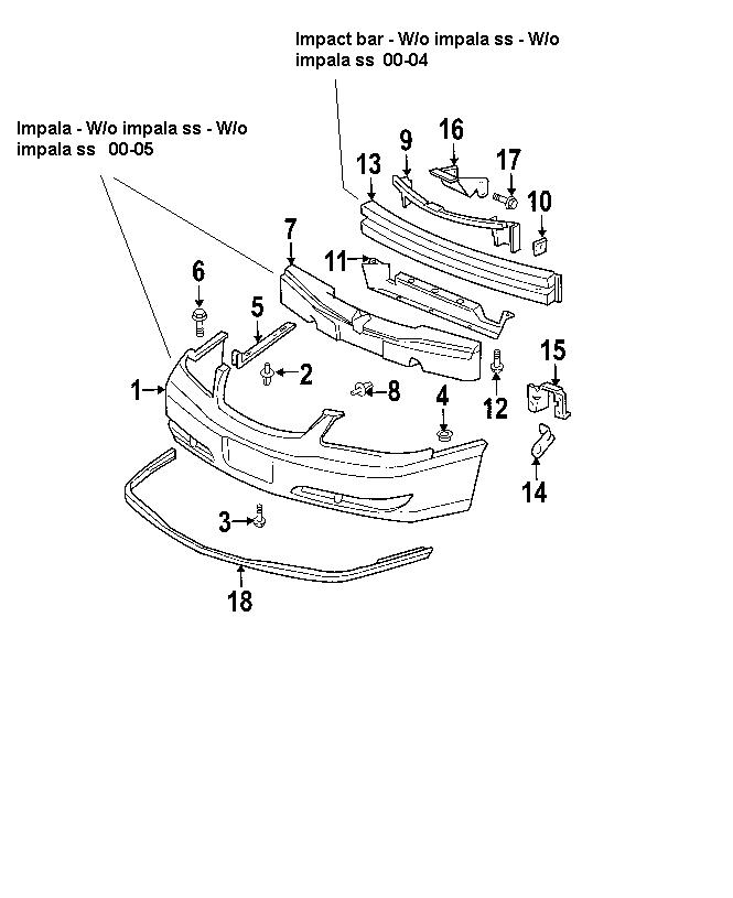Will A 2005 Chevy Impala Front Bumper Fit In Place Of 2003. Chevrolet. 2002 Chevy Impala Parts Diagram Under Car At Scoala.co