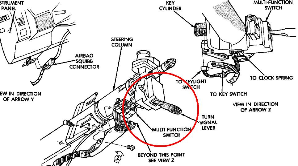 1996 ford ranger steering column diagram