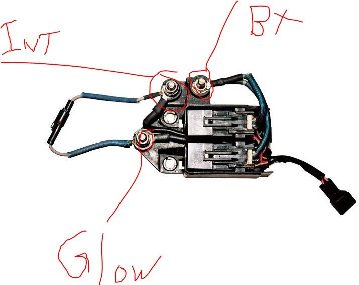 lb7 glow plug controller 3 posts 5 wires one red 2 black and 2 rh justanswer com Ford Glow Plug Wiring Harness 7.3 IDI Glow Plug Wiring