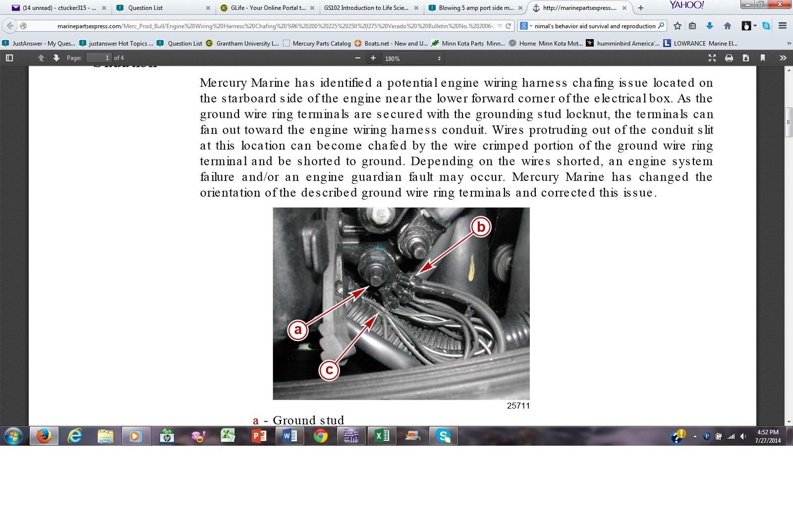 Blowing 5 Amp Port Side Motor Fuse 275 Mercury Verado