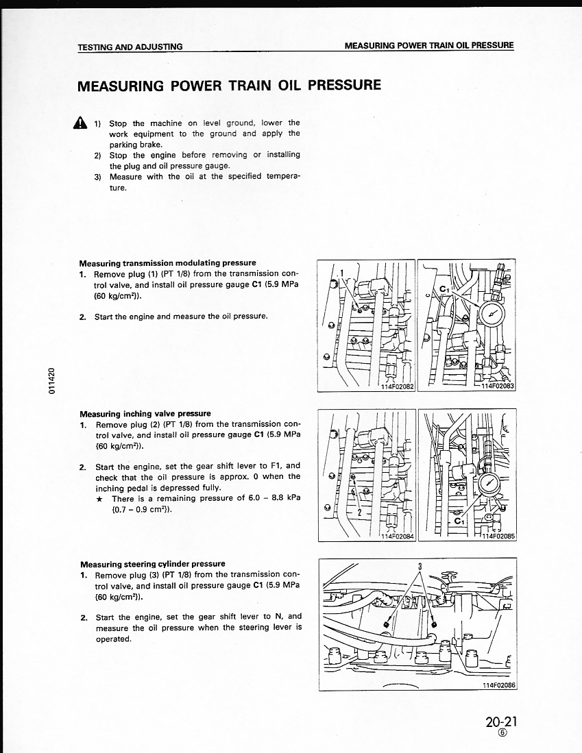 Komatsu 37p-5: how to check / adjust steering pressure  what is the
