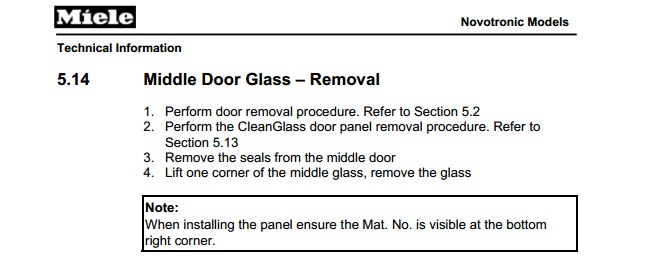Need To Replace Inner Door Glass On My Miele Oven Have Ordered The Complete  Service Manual