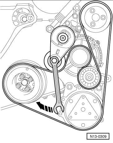 on a 2003 tdi jetta how do i remove the belt tensioner. Black Bedroom Furniture Sets. Home Design Ideas