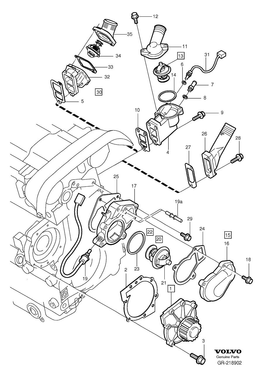 Where Is The Engine Coolant Temp Sensor For 2001 Volvo S80