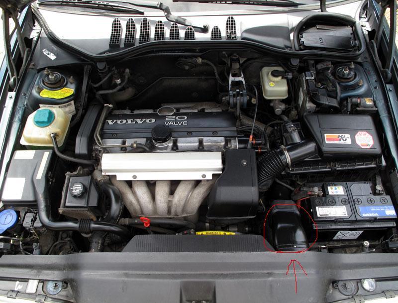 Fresh Air Hose Circled on 1996 Volvo 850 Glt