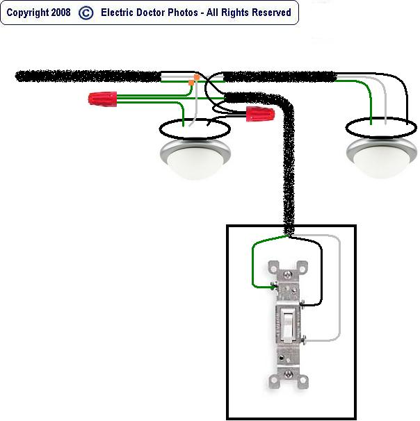 wire two light fixtures one switch light fixture ideas 2 Switches 1 Light Wiring Diagram