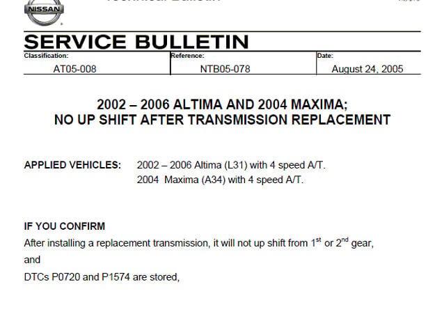 2003 NISSAN ALTIMA ERROR CODE: P1574 - ASCD VEHICLE SPEED SENSOR