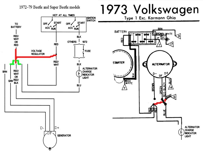 1973 volkswagen super beetle  converting generator to