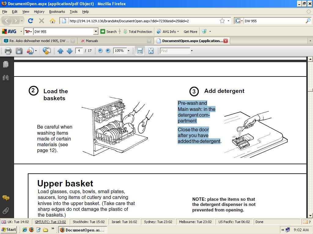 re asko dishwasher model 1905 dw 955 the detergent dispenser rh justanswer com asko d1706 dishwasher repair manual asko d1876 dishwasher repair manual