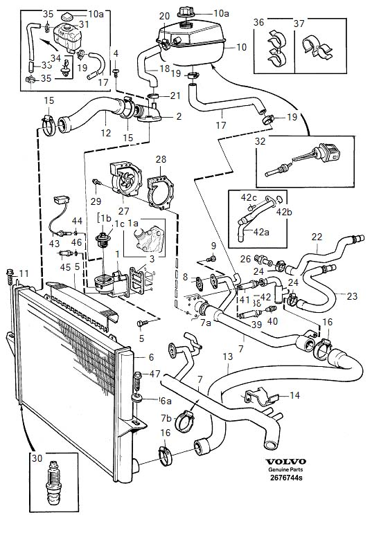 Cooling System on 1998 Volvo S70 Parts Diagram