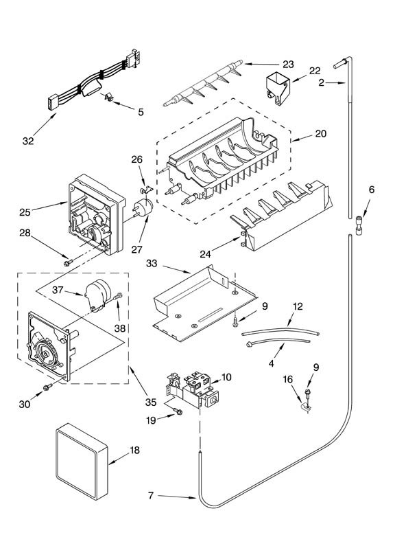 Whirlpool Ice Maker Diagrams Whirlpool Ice Maker Parts Diagram