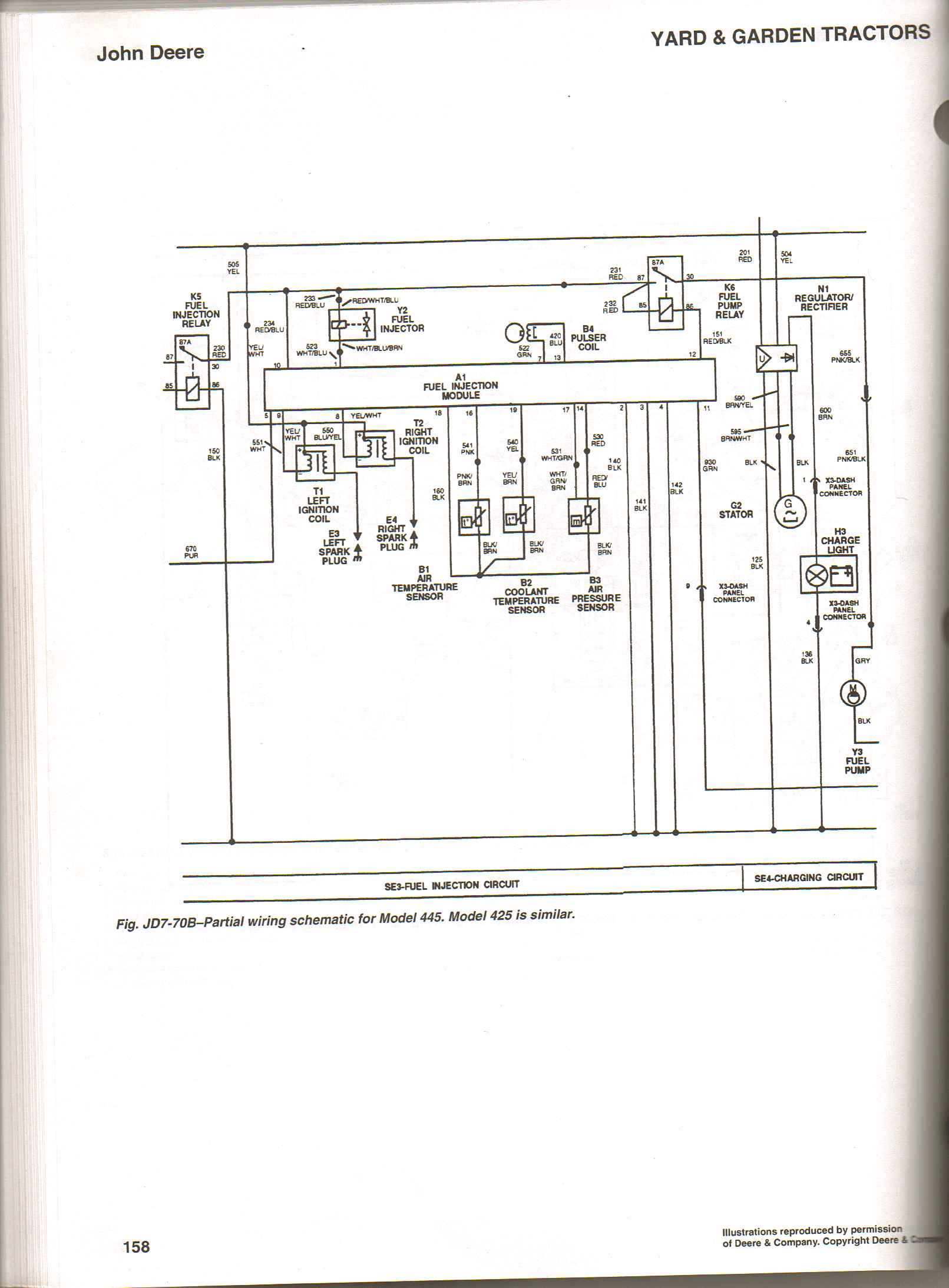 i've got a deere 425 with no spark. the led for ignition ... john deere 445 wiring diagram
