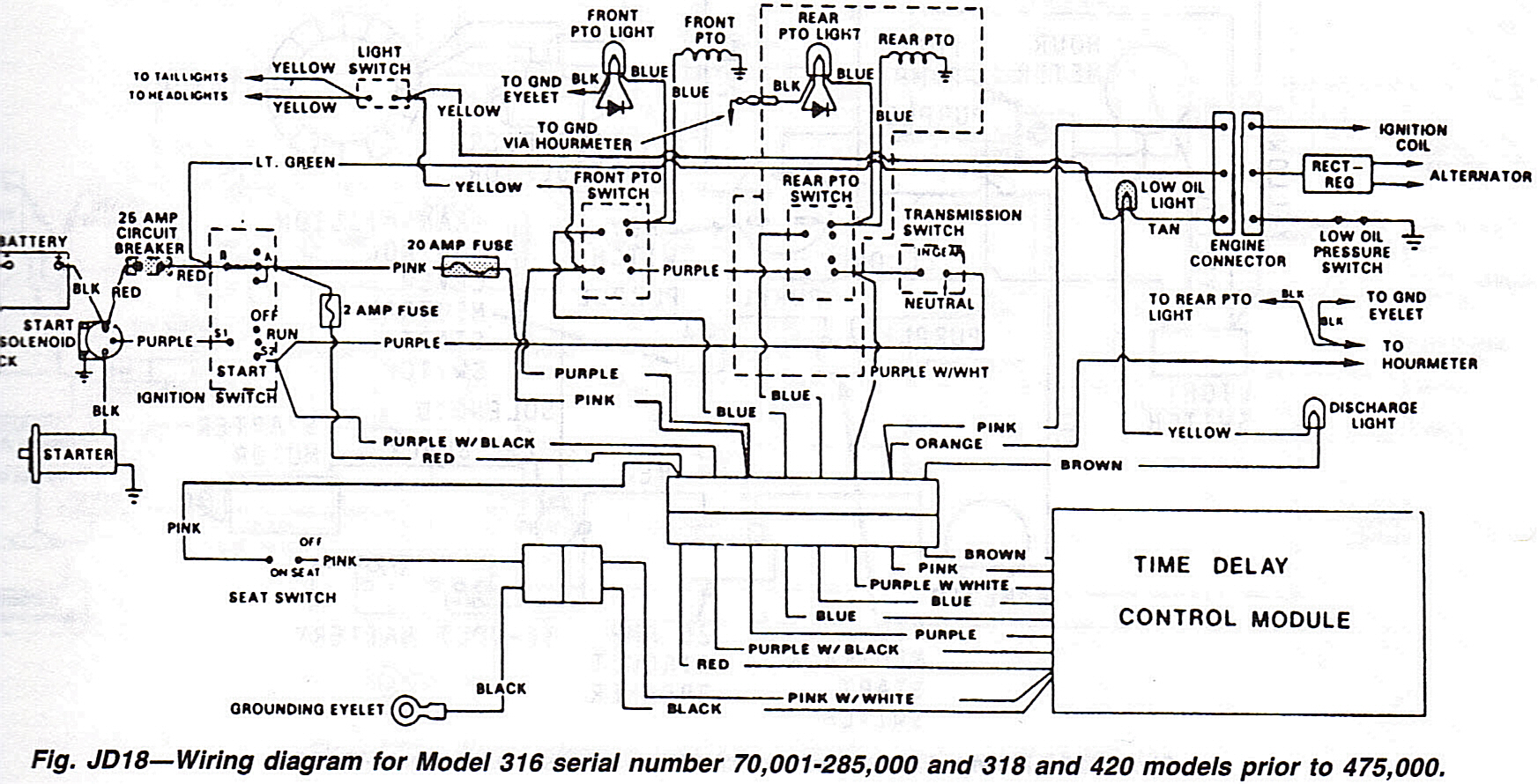 where do the wires hook to that run from the two fuses on a 318 rh justanswer com John Deere Parts Diagrams John Deere 140 Electrical Diagram