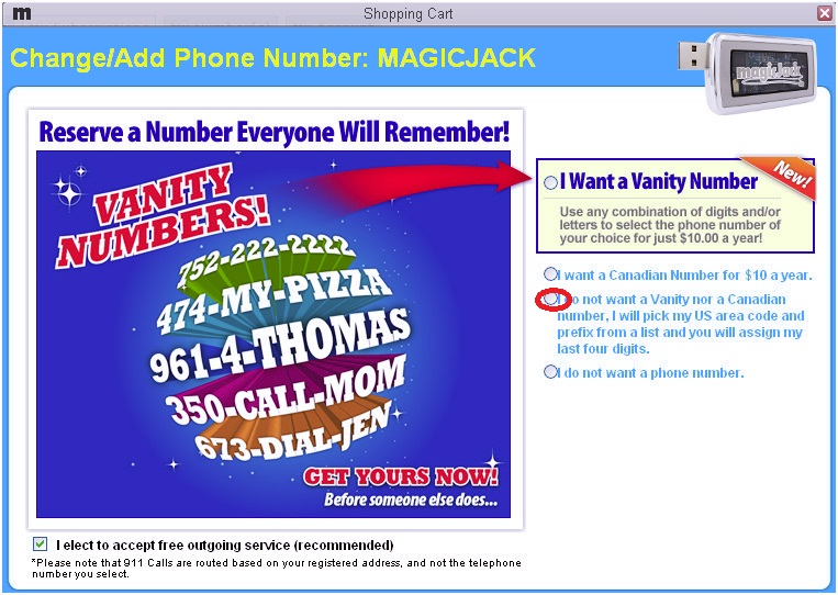 How to change the area code on the MagicJack