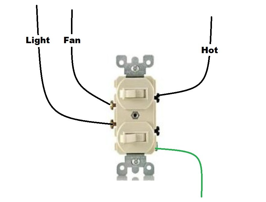 double wall switch wiring diagram i have a bathroom with a light and separate fan. both have ... double rocker switch wiring diagram