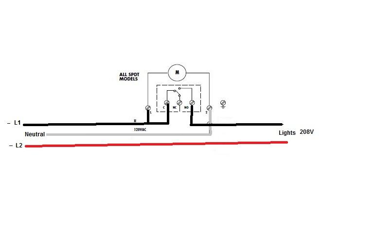 looking for directions to install a tork time switch  8001u 208v lighting circuit  the panel is