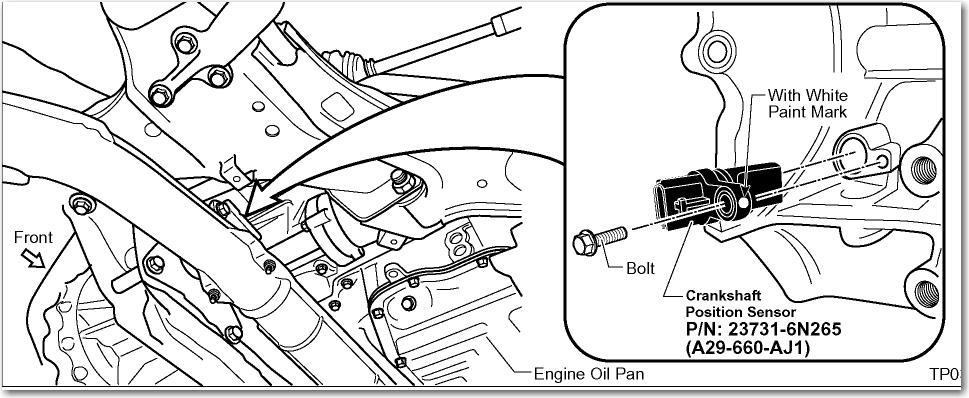 Nissan pulsar crank angle sensor location
