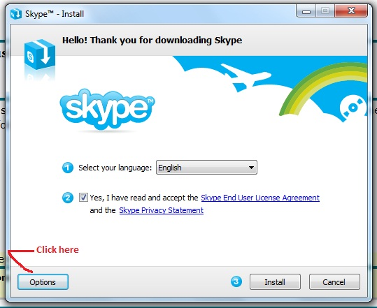 I am trying to install Skype on my husband's Windows XP