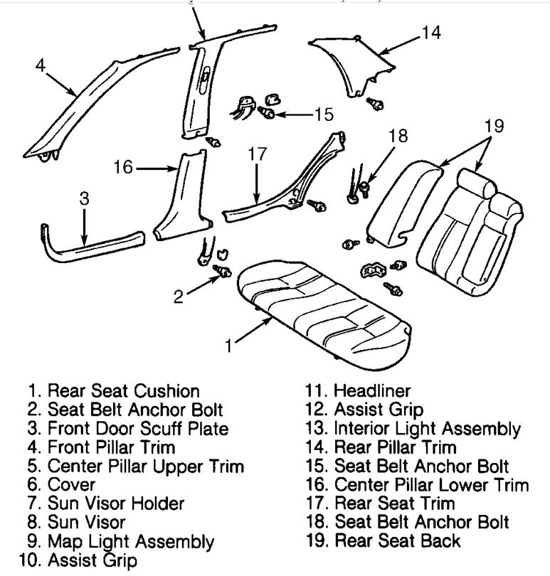 03 camry rear seat diagram  seat  auto parts catalog and