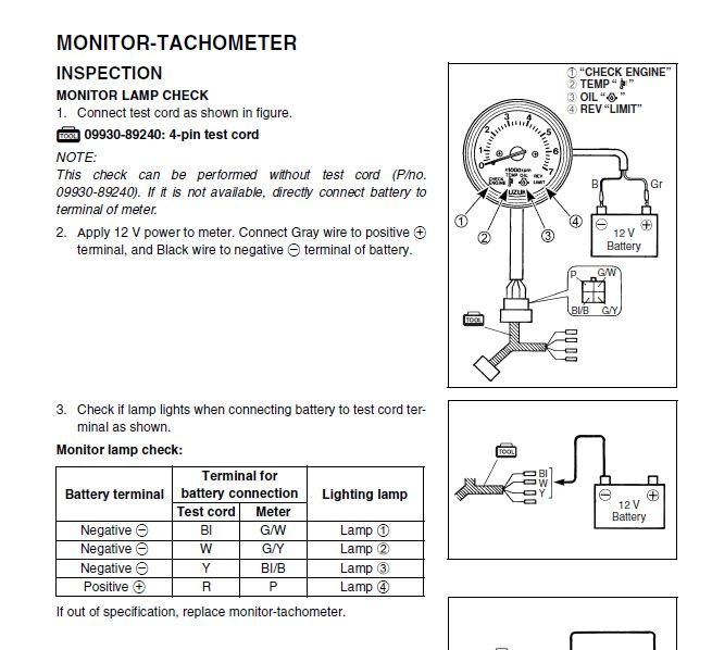 suzuki df175 oil monitor light at bottom of tach does not ... suzuki outboard tachometer installation faria outboard tachometer wiring diagrams #14
