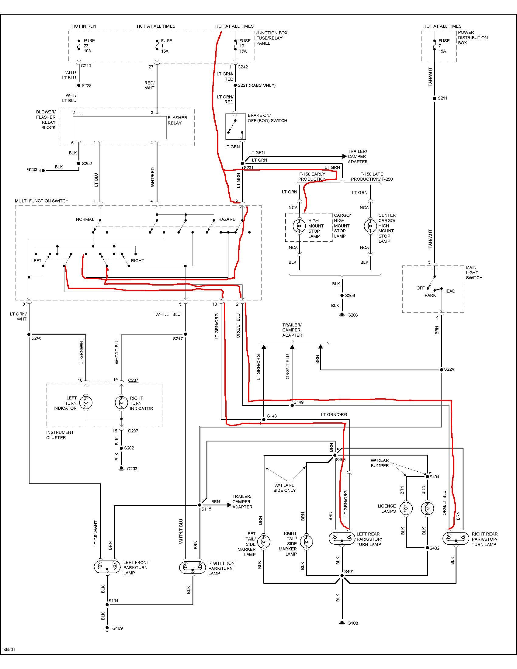 will not come out of park ,no brake lights,no reverse lights and all fuses appear good-1997 ford ... 94 f150 wiring diagram for brakes
