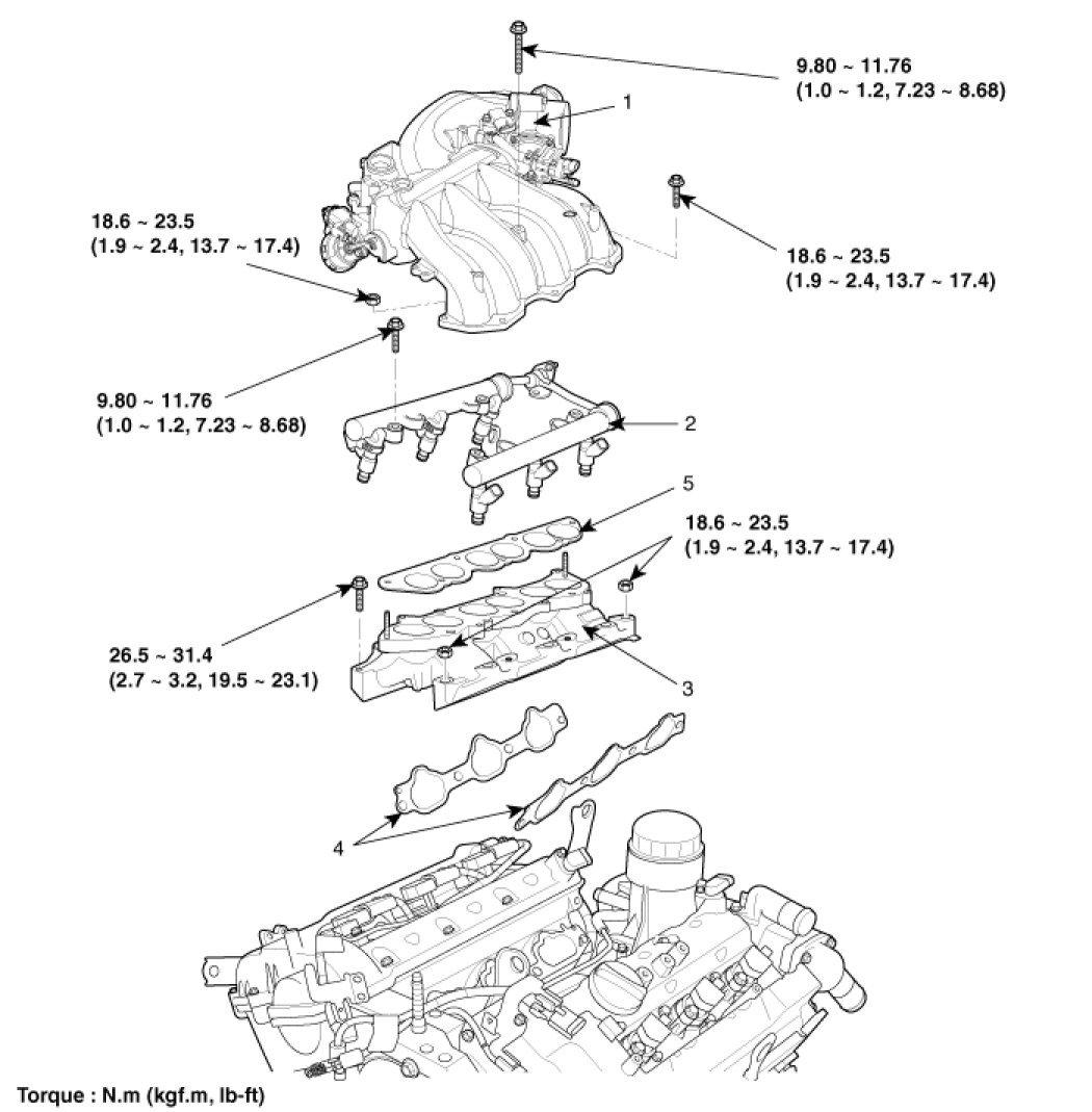 Service Manual 2009 Hyundai Santa Fe Intake Removal