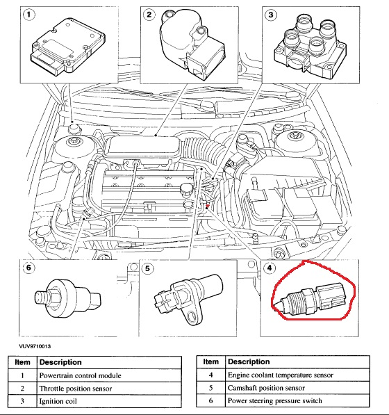 on 2000 Mercury Cougar Temperature Sensor Location
