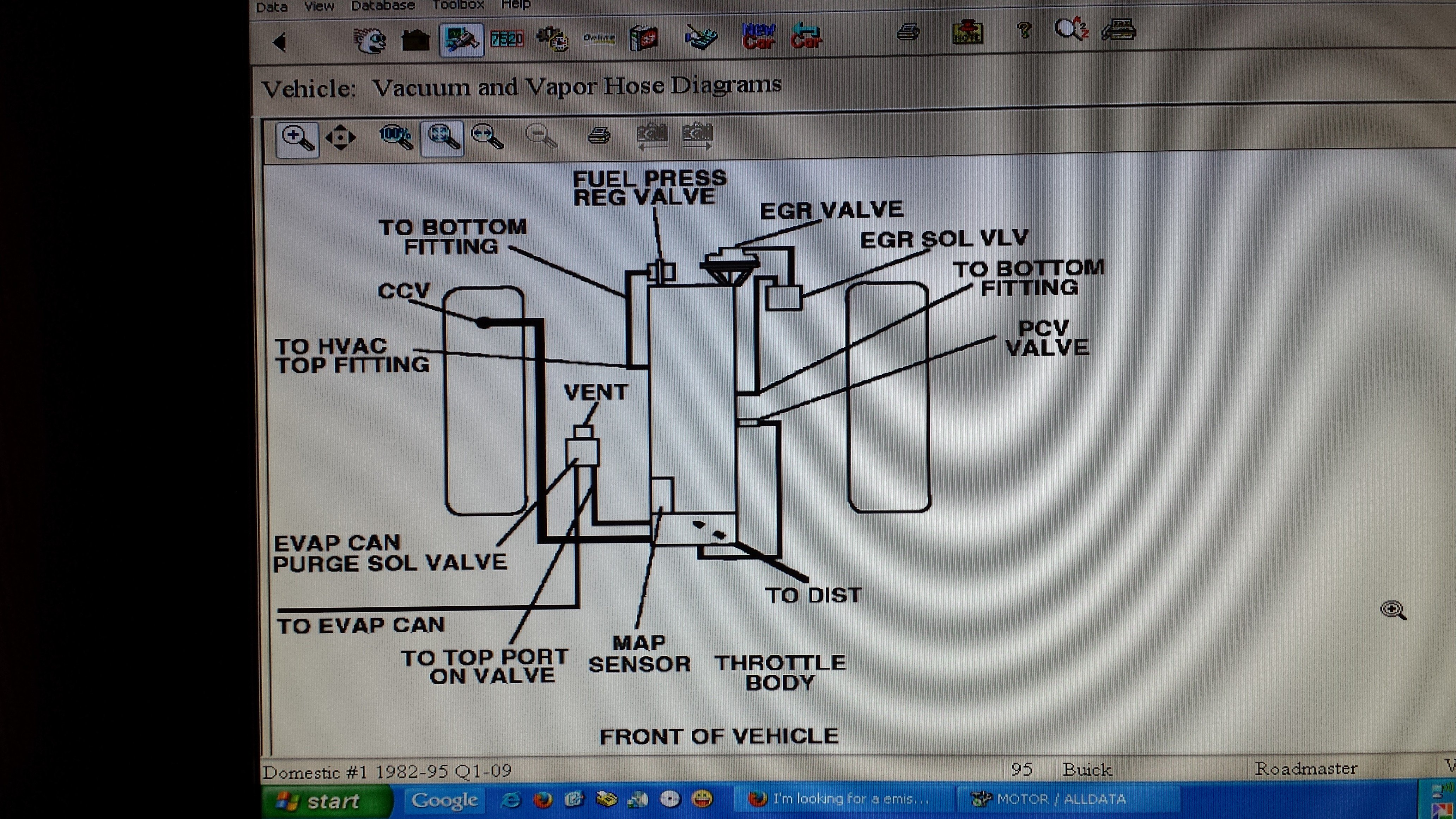 I M Looking For A Emissions Vacuum Schematic For A 1995 Buick Roadmaster The Area That I M Working On Is The Vapor