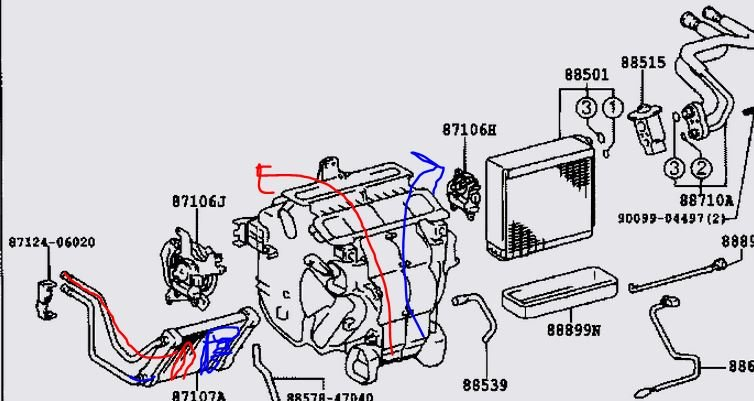 2007 camry heater core diagram