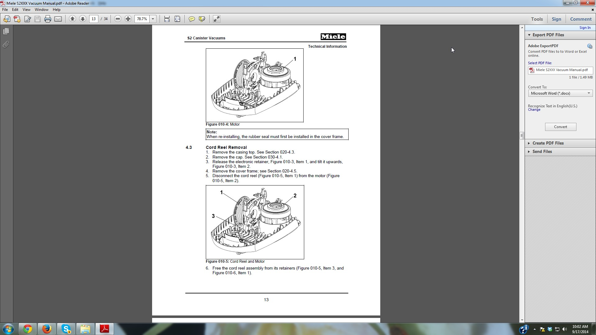 i am trying to access the retractor on a miele s251i s n 35360373 rh justanswer com miele s251i instructions Miele Parts Plus
