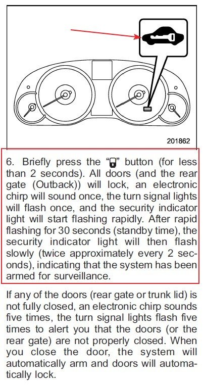 2011 outback wagon and the red key light is flashing never have stem it is designed so that a would be thief looking in the car notices the flashing security light may decide against breaking into your car aloadofball Image collections