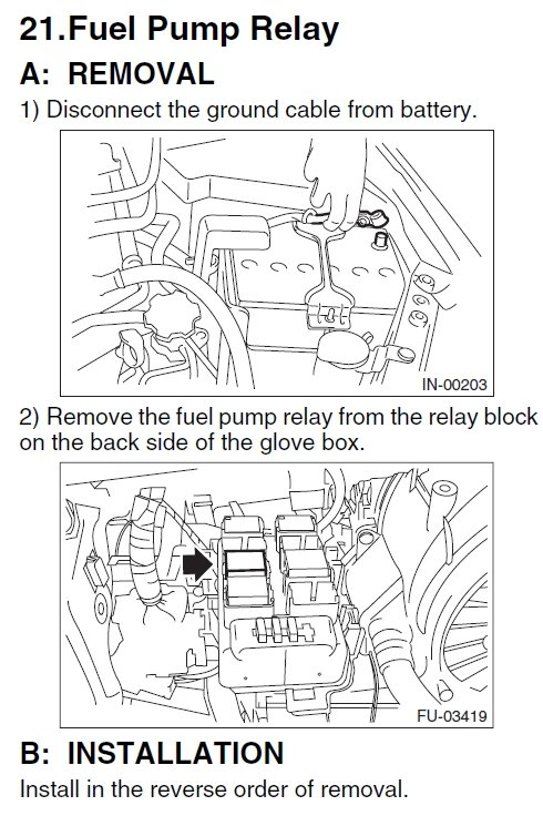 Where Is The Fuel Pump Relay And Fuel Control Module On A 2011 Subaru Sti