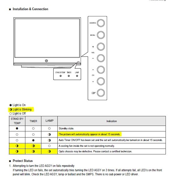 Samsung TV Model #HL56A650C1FXZA - When I turn on the TV it keeps ...