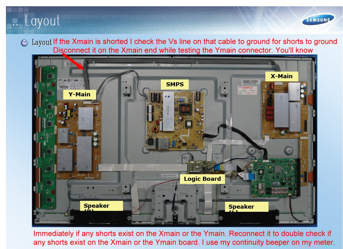 PN43D450A2DXZA Samsung Plasma TV  Won't power on and red led stays