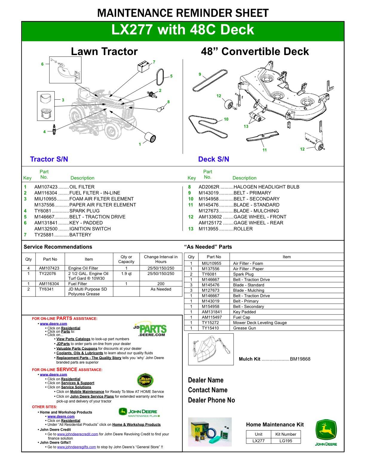 John Deere Lx277 Mower Deck Manual Guide
