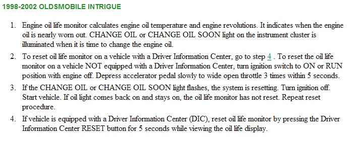 2002 oldsmobile intrigue oil capacity