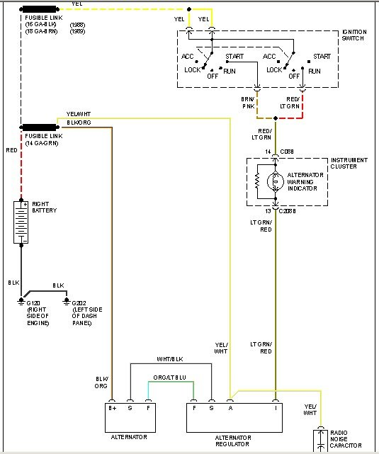 2010 07 01_165513_chg 89 f250 7 3l charging about 11 volts, alternator charge idiot light 1990 ford alternator wiring diagram at creativeand.co