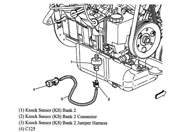 2004 pontiac grand prix knock sensor location