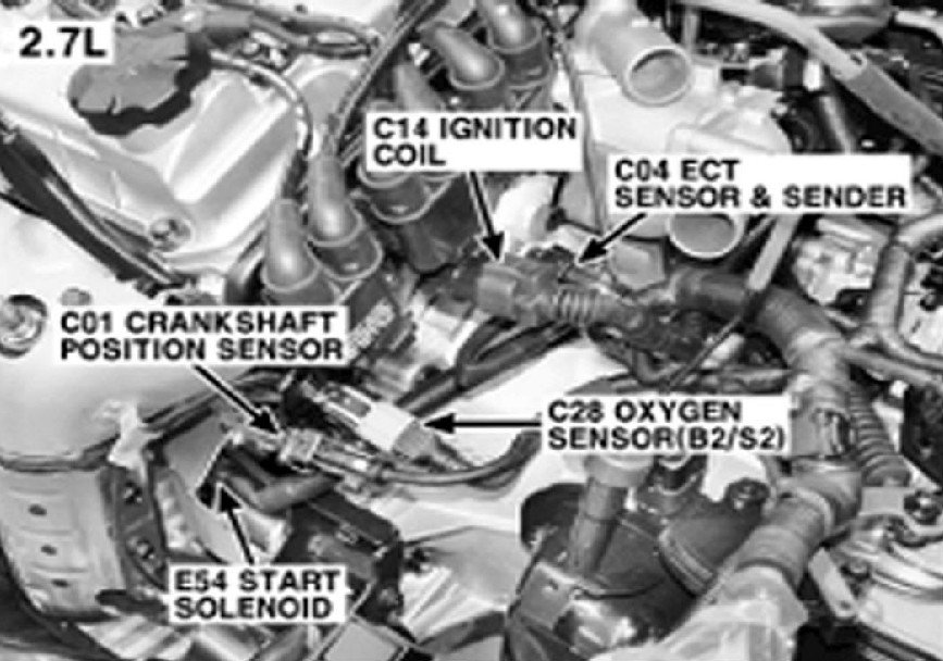 Where Is The Crank Shaft Position Sensor Locataed On 2005 Tuscon 27 Rhjustanswer: 2003 Hyundai Santa Fe Crankshaft Sensor Location At Gmaili.net
